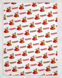 Teddybear Personalized Valentine Blanket - Potter's Printing