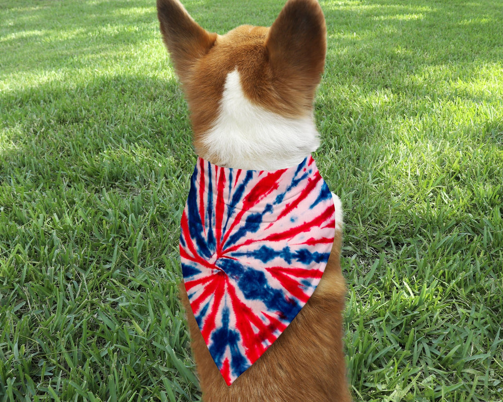 Red, White & Blue Tie Dye Dog Bandana - Potter's Printing