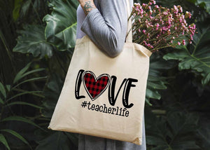 Love Teacher Life Tote Bag - Potter's Printing