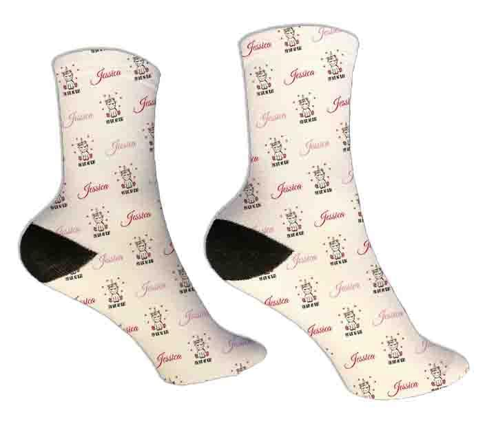 Unicorn Personalized Valentine Socks - Potter's Printing