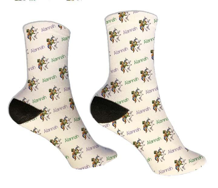 Unicorn Personalized St Patrick's Day Socks - Potter's Printing
