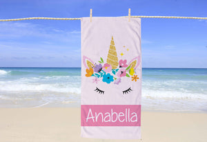 Unicorn Personalized Beach Towel - Potter's Printing