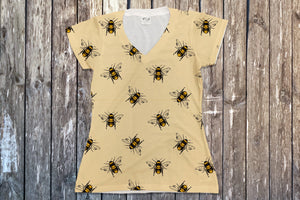 Bees V Neck Tee - Potter's Printing