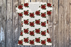 Beauty and The Beast Roses V Neck Tee - Potter's Printing