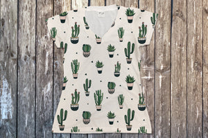 Cactus V Neck Tee - Potter's Printing