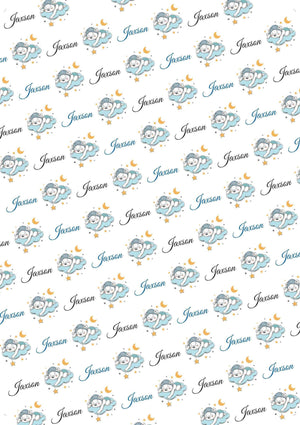 Baby Boy Bear Personalized Baby Shower Gift Wrap - Potter's Printing