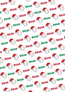 Baseball Personalized Christmas Gift Wrap - Potter's Printing