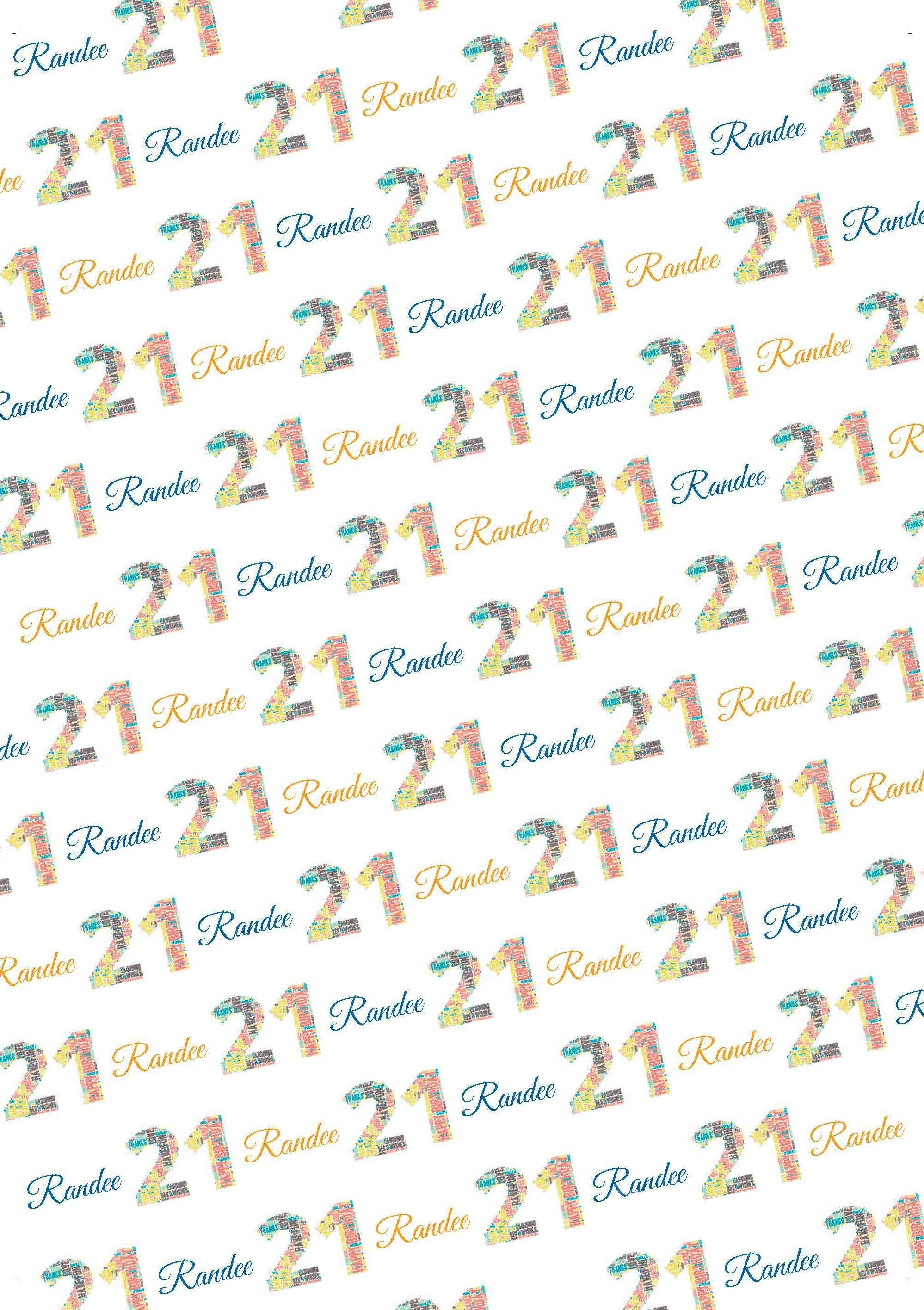 21st Birthday Words Personalized Gift Wrap