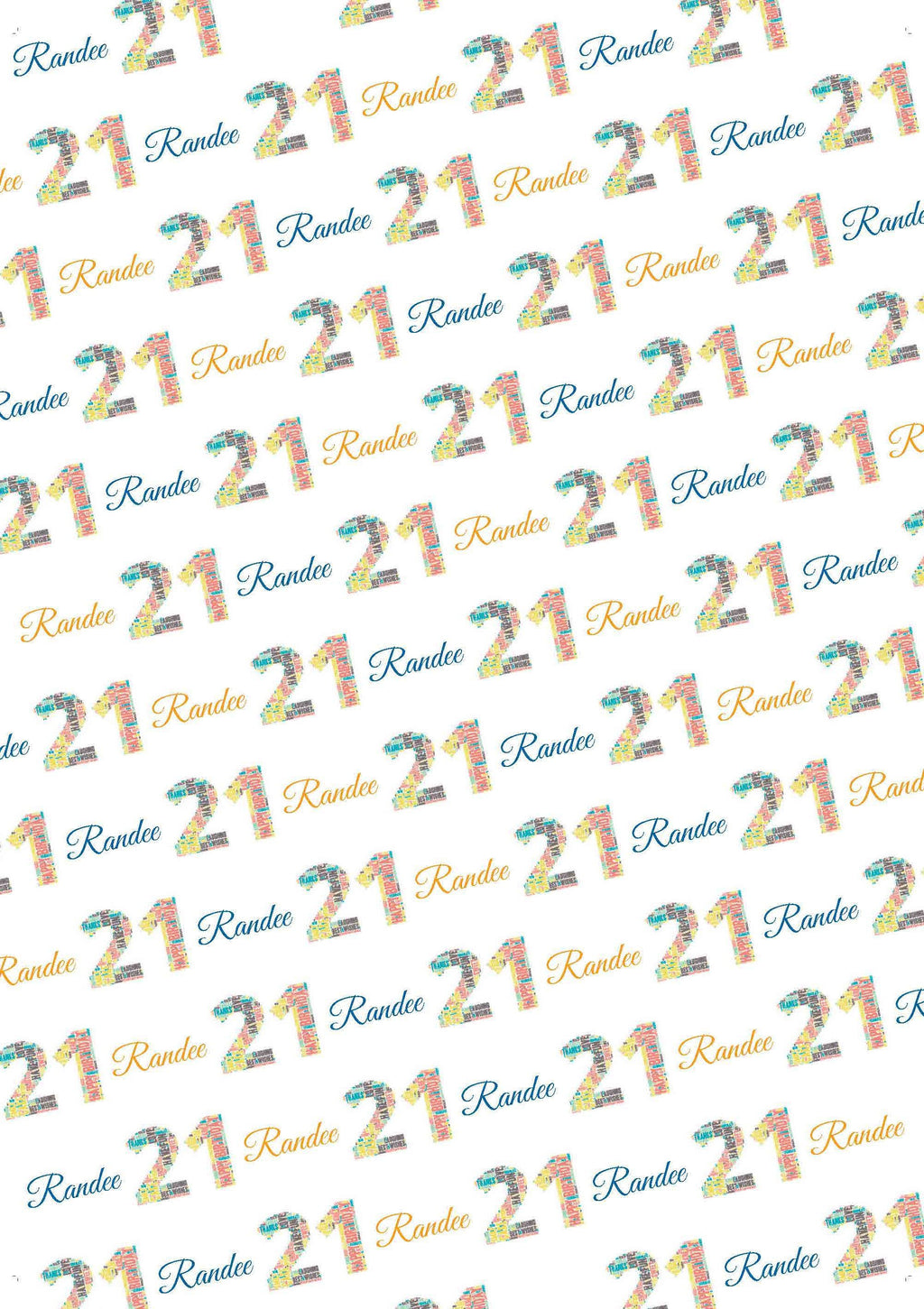 21st Birthday Words Personalized Birthday Gift Wrap - Potter's Printing