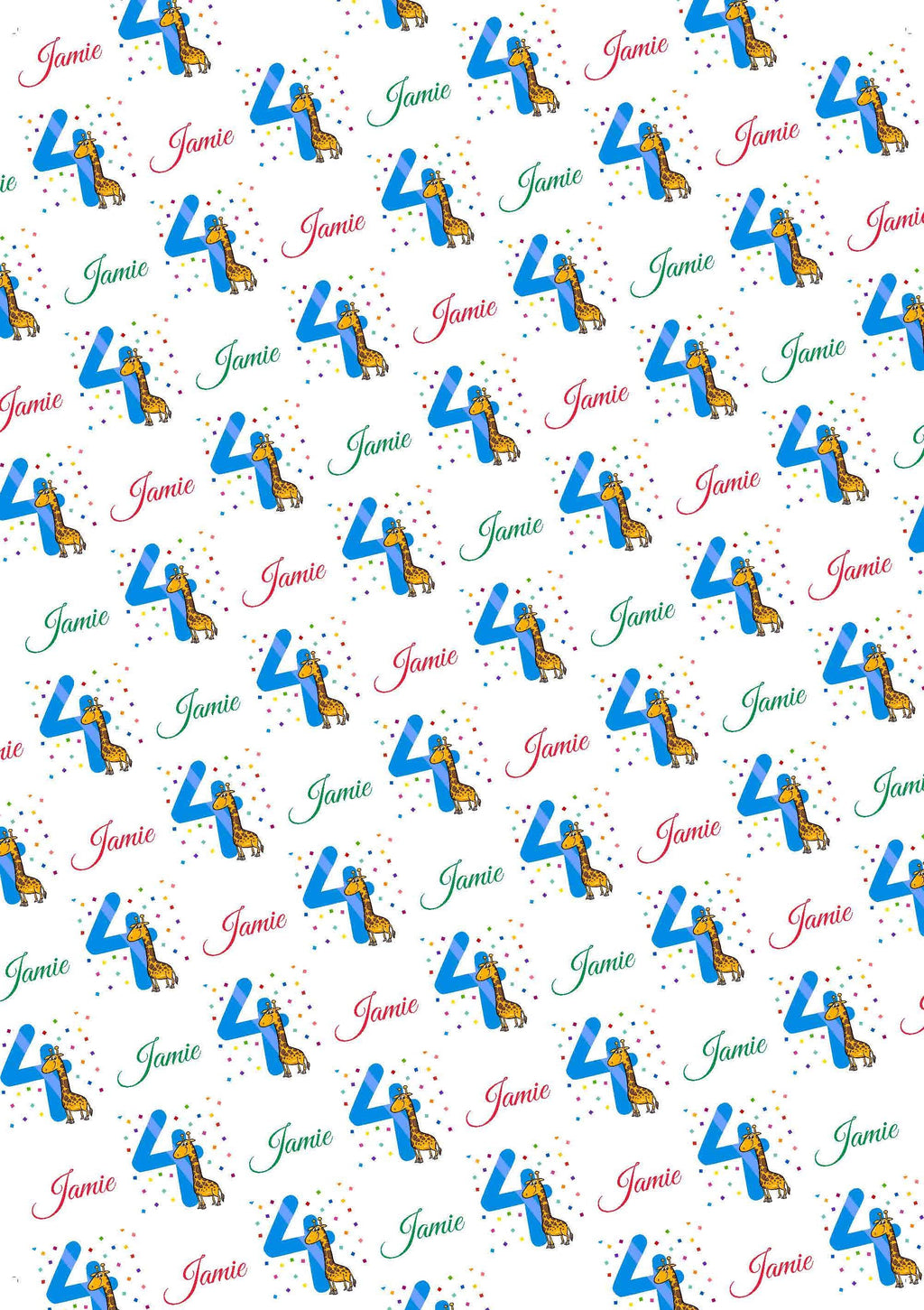 4th Birthday Giraffe Personalized Birthday Gift Wrap - Potter's Printing