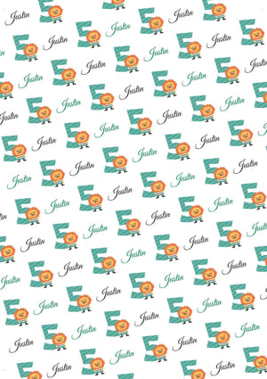 5th Birthday Lion Personalized Birthday Gift Wrap - Potter's Printing