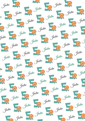 5th Birthday Lion Personalized Birthday Tissue Paper - Potter's Printing