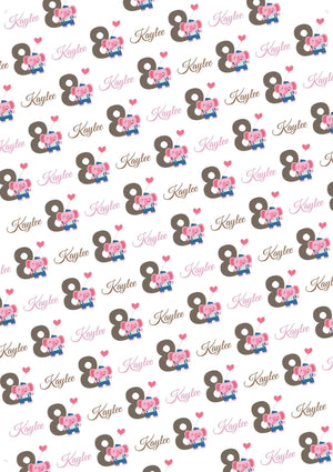 8th Birthday Elephant Personalized Birthday Gift Wrap - Potter's Printing