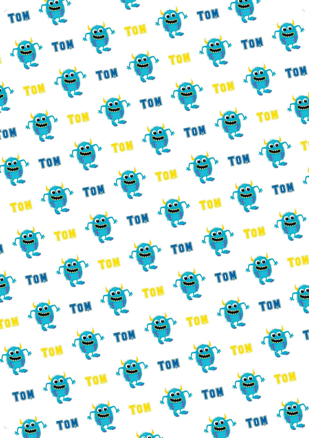 Blue Monster Personalized Birthday Gift Wrap - Potter's Printing