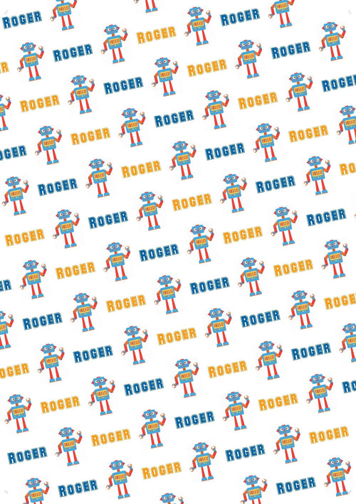 Robot Personalized Gift Wrap - Potter's Printing