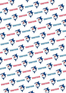 Shark Personalized Gift Wrap - Potter's Printing