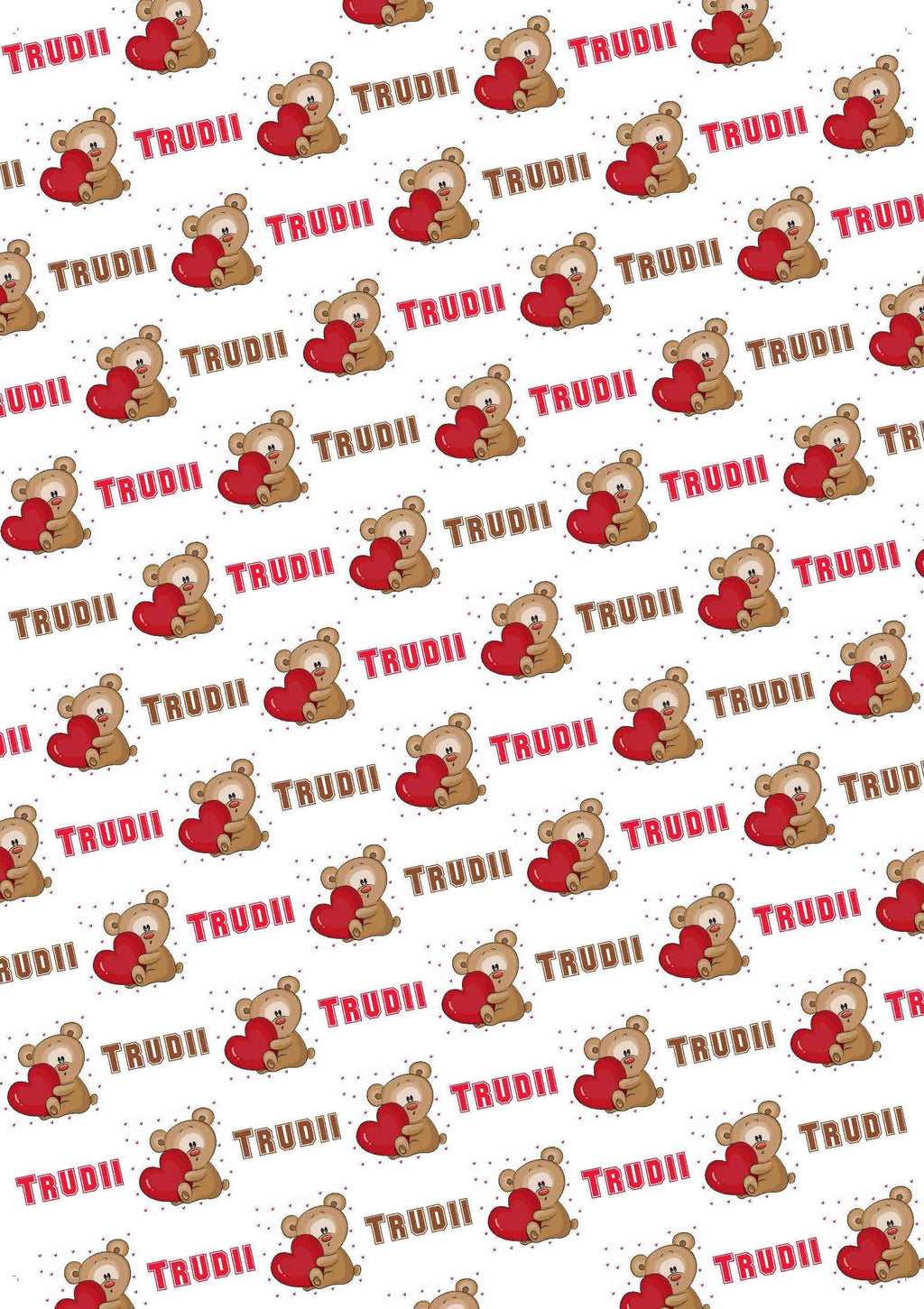Teddy Bear Personalized Valentine Gift Wrap - Potter's Printing