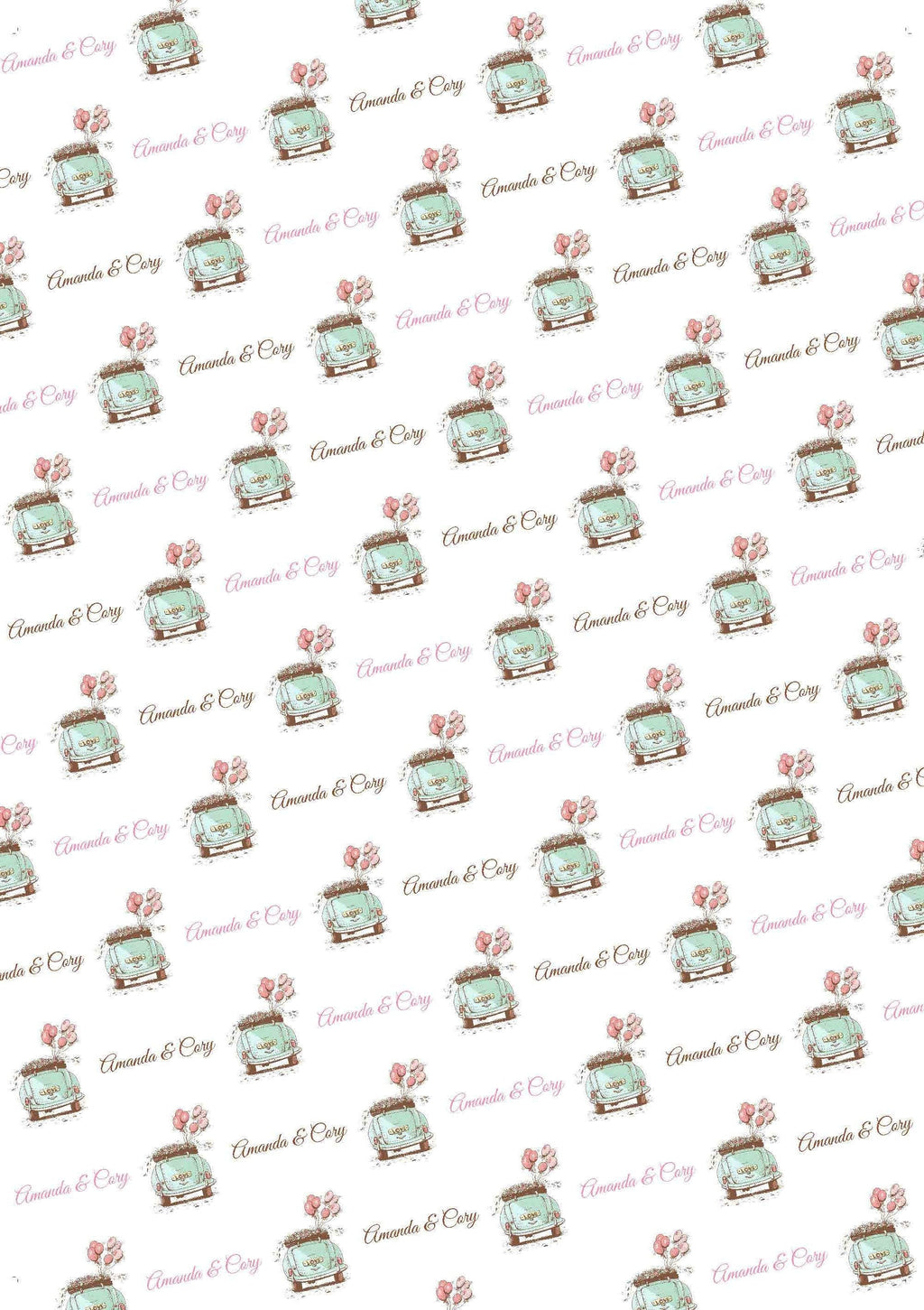 Wedding Car Personalized Gift Wrap - Potter's Printing