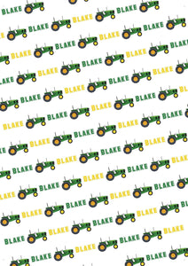 Tractor Personalized Gift Wrap - Potter's Printing