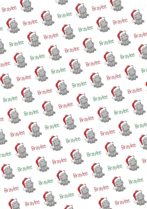 Hippopotamus Personalized Christmas Tissue Paper - Potter's Printing