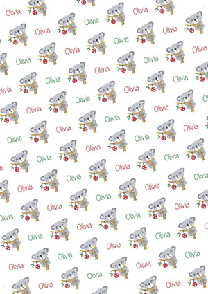 Koala Personalized Christmas Gift Wrap - Potter's Printing