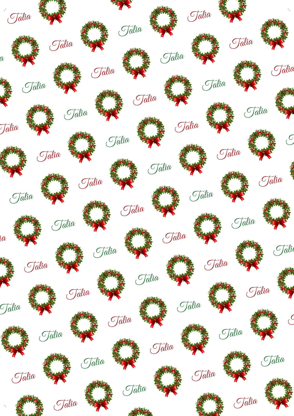 Christmas Wreath Personalized Gift Wrap - Potter's Printing