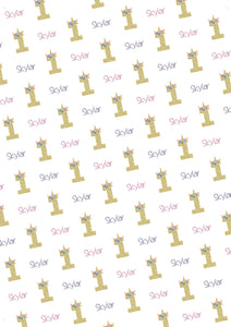 1st Birthday Unicorn Personalized Birthday Gift Wrap - Potter's Printing