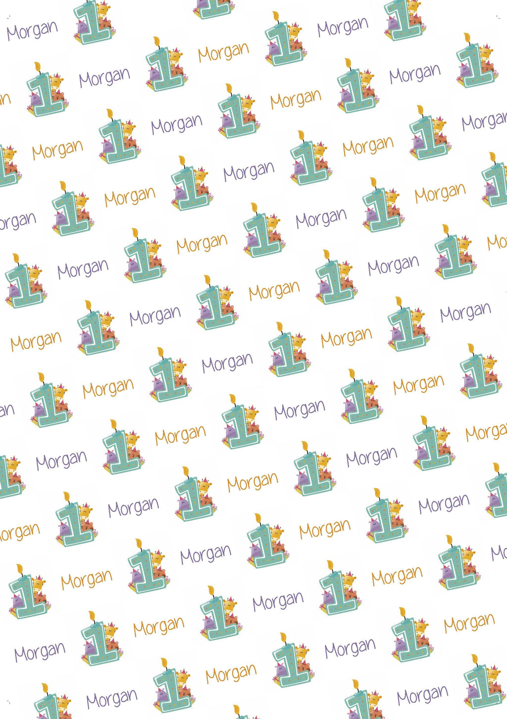 1st Birthday Zoo Animals Personalized Birthday Gift Wrap - Potter's Printing