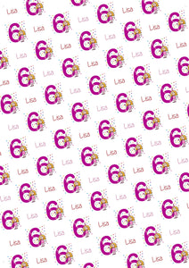 6th Birthday Princess Personalized Birthday Gift Wrap - Potter's Printing