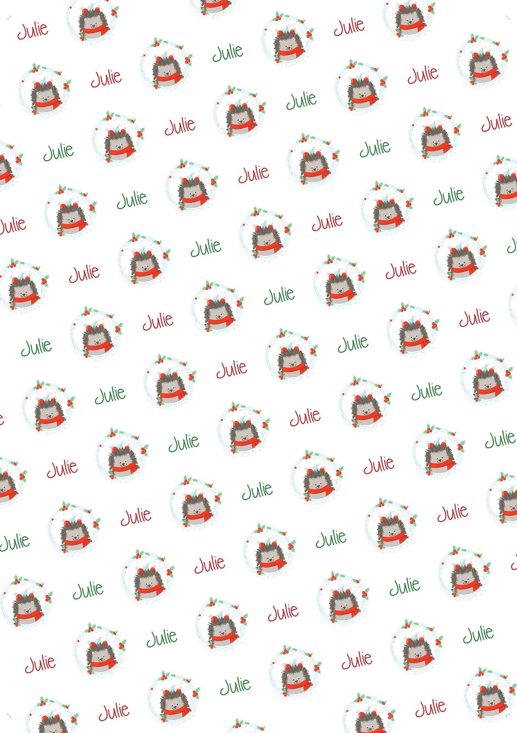 Hedgehog Personalized Christmas Gift Wrap