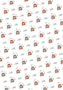 Hedgehog Personalized Christmas Gift Wrap - Potter's Printing