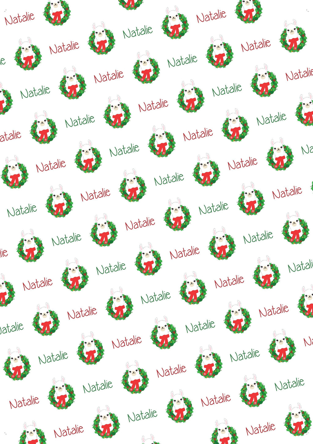 Llama Personalized Christmas Gift Wrap