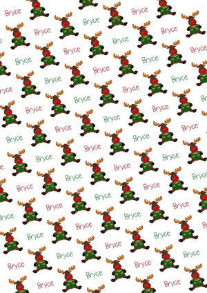 Moose Personalized Christmas Gift Wrap - Potter's Printing