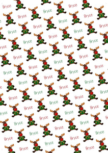 Moose Personalized Christmas Gift Wrap