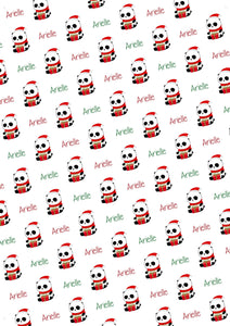 Christmas Panda Personalized Gift Wrap - Potter's Printing