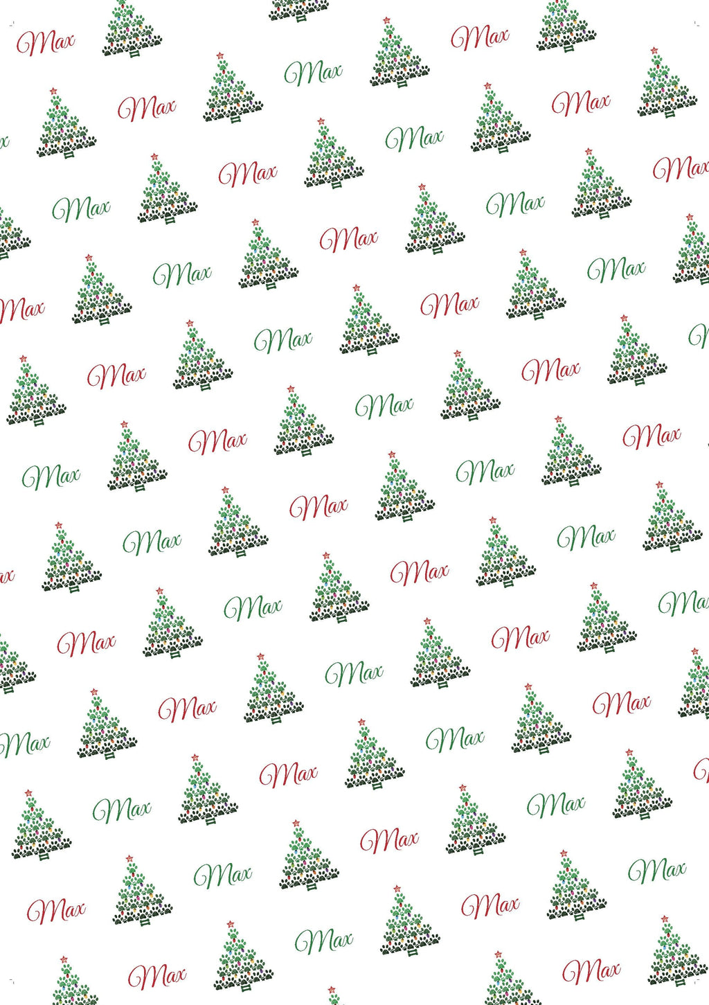 Christmas Paw Tree Personalized Gift Wrap
