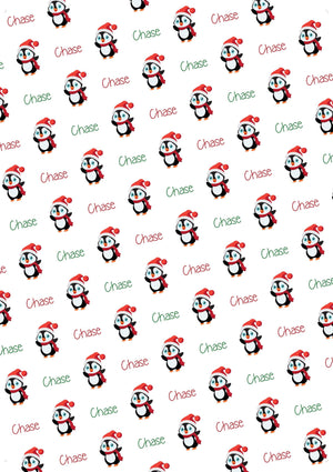Penguin Personalized Christmas Gift Wrap - Potter's Printing