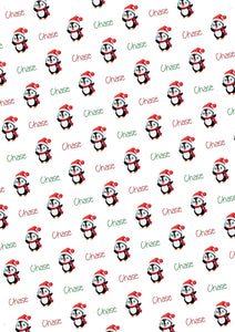 Penguin Personalized Christmas Gift Wrap