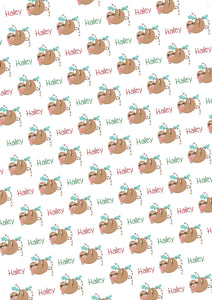 Sloth Personalized Christmas Gift Wrap - Potter's Printing