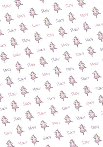 Unicorn Ballet Personalized Gift Wrap - Potter's Printing