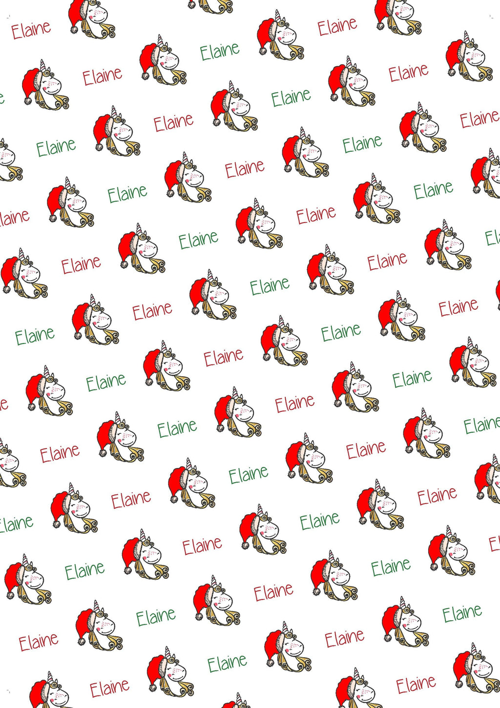 Unicorn Personalized Christmas Gift Wrap - Potter's Printing