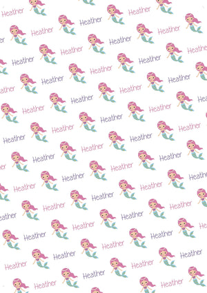 Mermaid Personalized Gift Wrap - Potter's Printing
