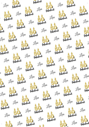 50th Birthday Fabulous Personalized Birthday Gift Wrap - Potter's Printing