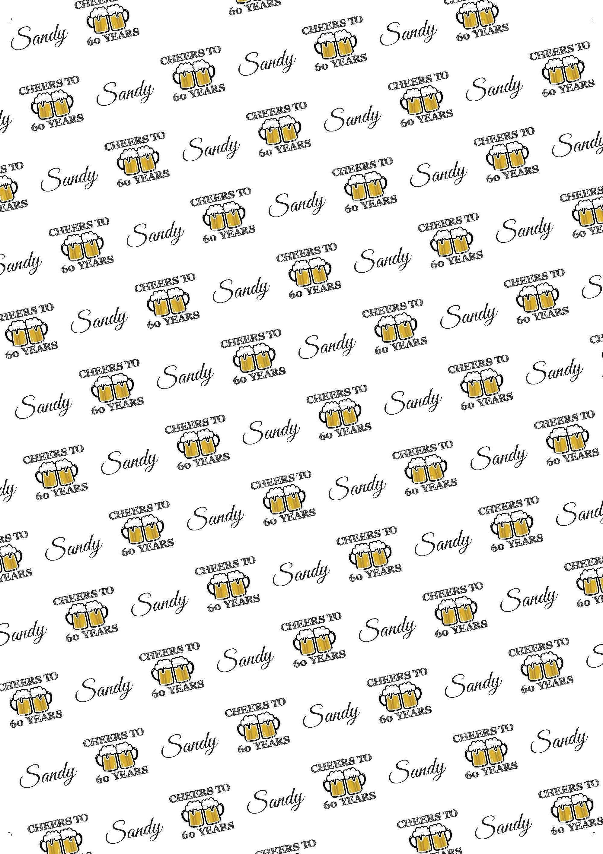 60th Birthday Cheers Personalized Birthday Gift Wrap - Potter's Printing