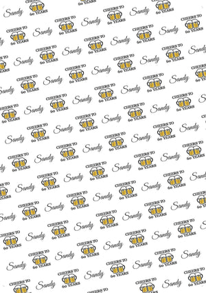 60th Birthday Cheers Personalized Birthday Tissue Paper - Potter's Printing