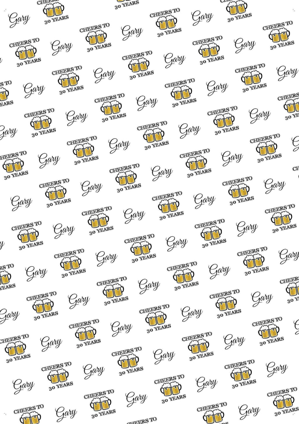 30th Birthday Cheers Personalized Birthday Gift Wrap - Potter's Printing