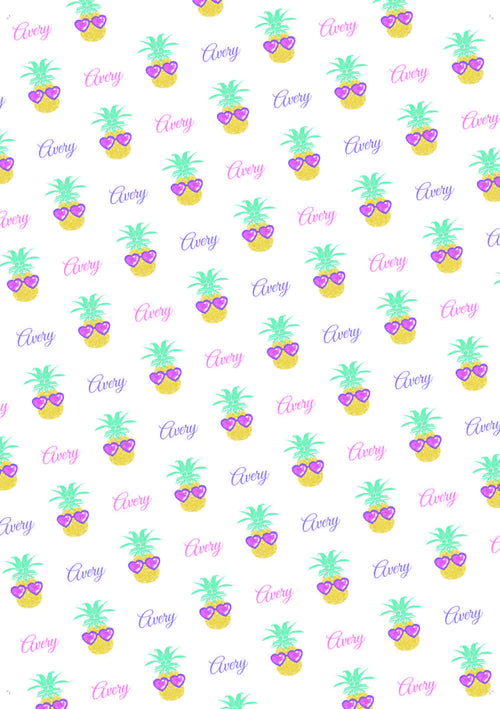 Pineapple Birthday Personalized Gift Wrap