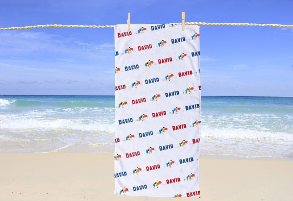 Wrestling Personalized Beach Towel - Potter's Printing