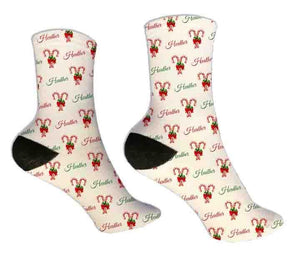 Candy Canes Personalized Christmas Socks - Potter's Printing