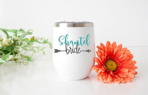 Bride Personalized Wine Tumbler - Potter's Printing